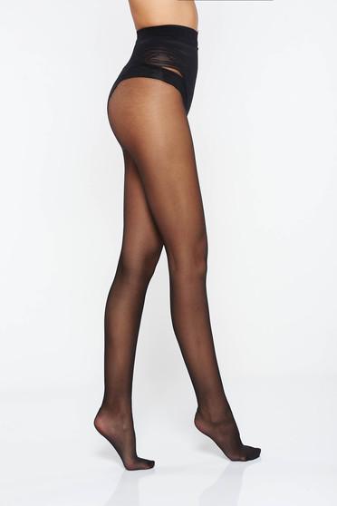 Dres dama modelator negru 20 den cu un calcai curbat si cusaturi plate