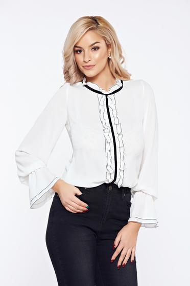 Bluza dama alba LaDonna office eleganta din voal cu volanase