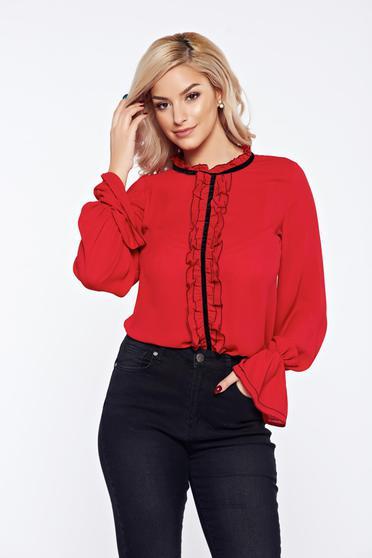Bluza dama LaDonna rosie office eleganta din voal cu volanase