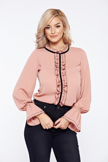 Bluza dama rosa LaDonna office eleganta din voal cu volanase