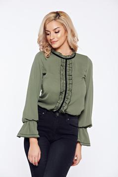 Bluza dama LaDonna verde-inchis office eleganta din voal cu volanase
