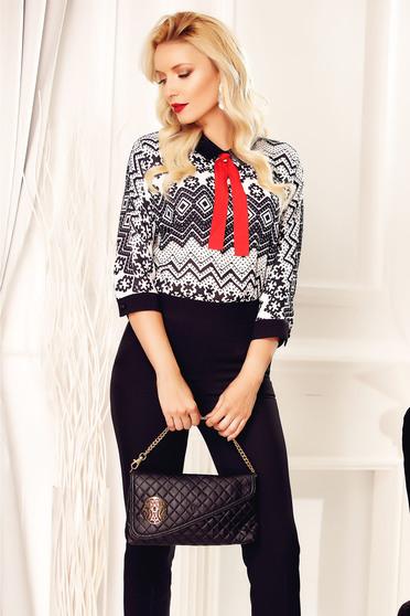 Bluza dama Fofy neagra casual cu imprimeuri grafice
