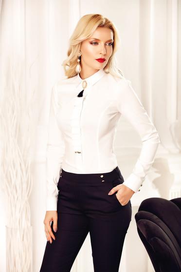 Camasa dama alba Fofy office accesorizata cu brosa