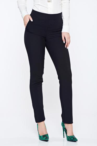 Pantaloni Fofy negri office conici cu buzunare cu talie medie