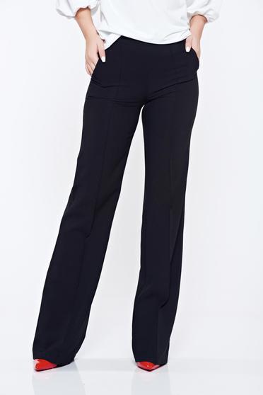 Pantaloni Fofy negri office evazati cu buzunare cu talie inalta