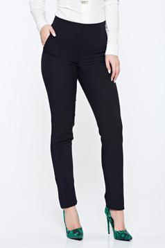 Pantaloni negri Fofy office conici cu buzunare cu talie inalta