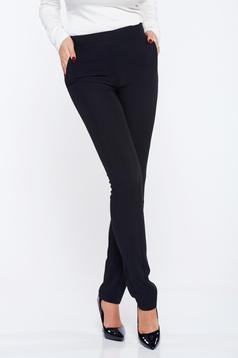 Pantaloni Fofy negri office conici cu buzunare cu talie inalta