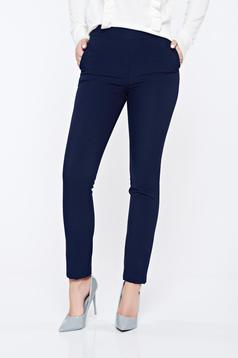 Pantaloni Fofy albastru-inchis office conici cu buzunare cu talie inalta