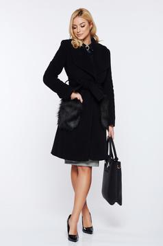 Palton LaDonna negru elegant din lana cu insertii de blana ecologica nedetasabile