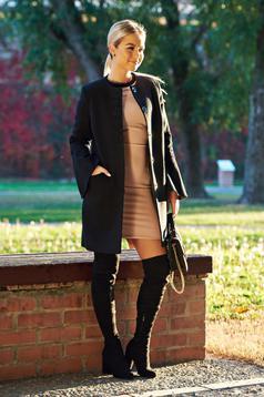 Palton LaDonna negru drept eleganta brodata din stofa