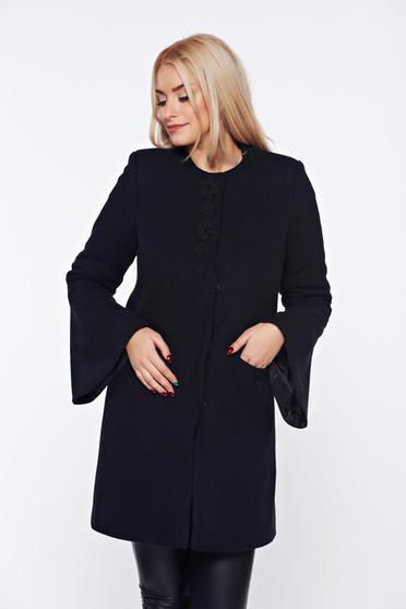 Palton negru LaDonna elegant drept brodat din lana