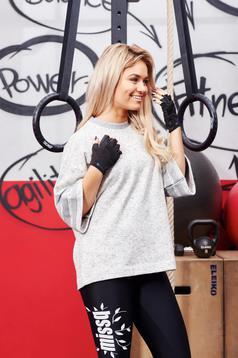 Bluza dama Adidas Originals gri sport din material elastic cu croi larg