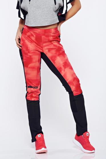 Pantaloni Adidas rosii sport cu talie medie cu buzunare cu fermoar