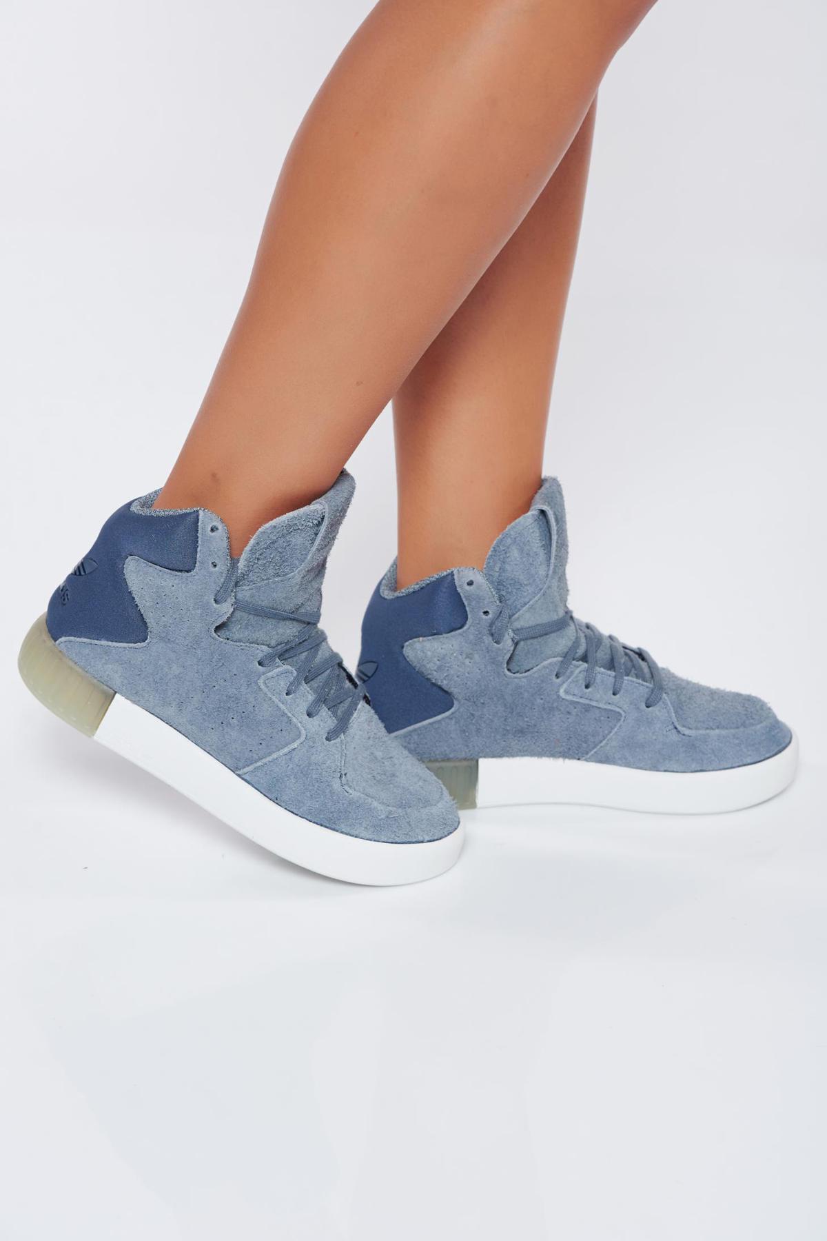 Pantofi sport Adidas Originals Tubular gri casual din piele intoarsa ecologica cu siret