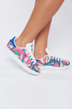 Pantofi sport rosa casual din piele naturala cu imprimeu floral