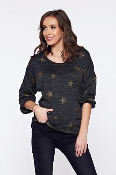 Pulover PrettyGirl gri-inchis casual tricotat asimetric cu imprimeuri grafice