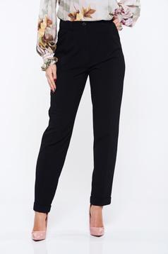 Pantaloni PrettyGirl negri office cu buzunare cu talie inalta