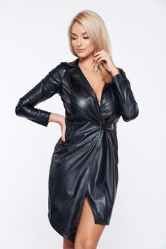 Rochie neagra PrettyGirl de club in clos din piele ecologica