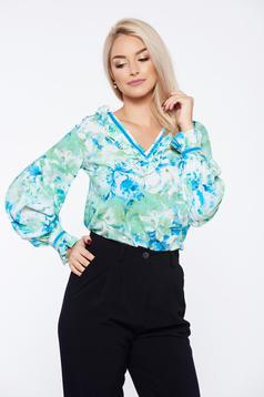Bluza dama LaDonna verde office cu croi larg cu imprimeu floral