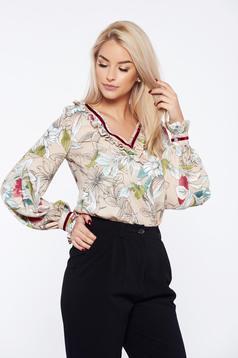 Bluza dama LaDonna crem office cu croi larg cu imprimeu floral
