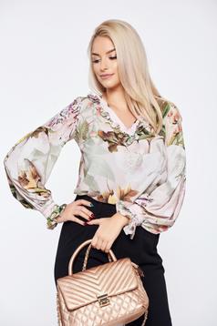 Bluza dama LaDonna rosa office cu croi larg cu imprimeu floral