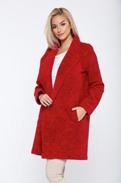 Palton Top Secret rosu casual drept cu maneca lunga