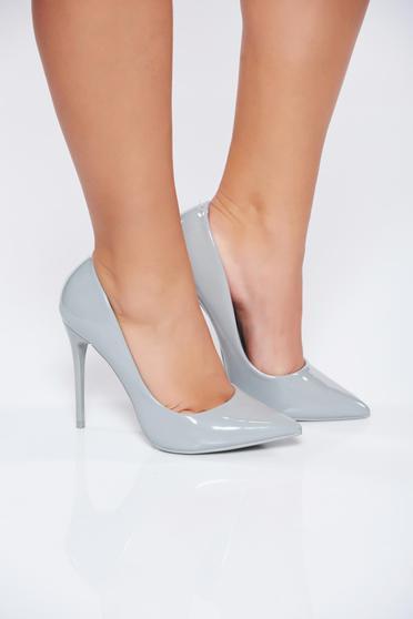 Pantofi stiletto gri office eleganti din piele ecologica lacuita cu toc inalt