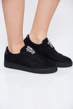 Pantofi sport negru casual cu talpa joasa cu pietre strass