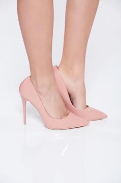 Pantofi roz office eleganta din piele ecologica cu toc inalt