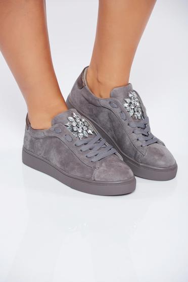 Pantofi sport gri casual din piele ecologica cu pietre strass