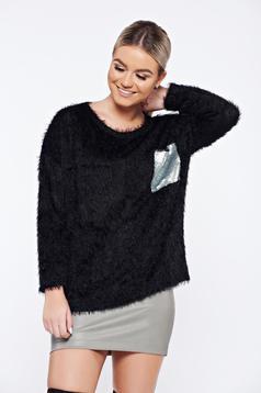 Pulover negru casual tricotat aplicatii cu paiete