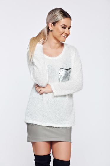Pulover alb casual tricotat aplicatii cu paiete