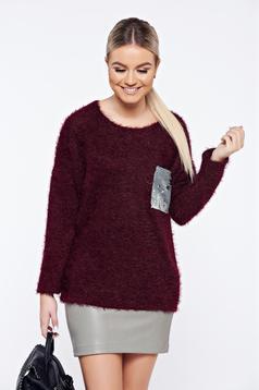 Pulover visiniu casual tricotat aplicatii cu paiete