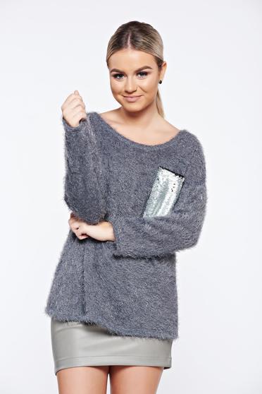 Pulover gri casual tricotat aplicatii cu paiete
