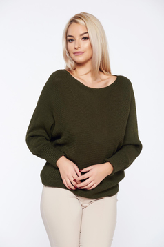 Pulover verde-inchis casual tricotat cu croi larg