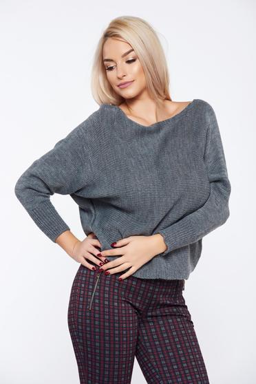 Pulover gri casual tricotat cu croi larg