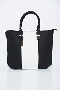 Geanta dama neagra office din piele ecologica compartimentata cu buzunare interioare