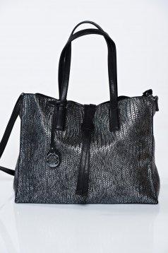 Geanta dama neagra casual cu aspect metalic