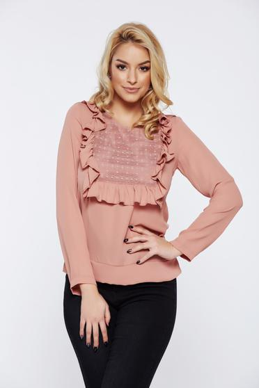 Bluza dama LaDonna rosa office cu aplicatii de dantela cu volanase