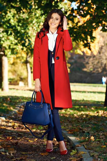 Palton LaDonna rosu casual drept cu buzunare