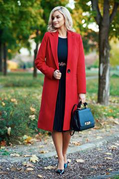 Palton LaDonna rosu basic din lana drept cu buzunare