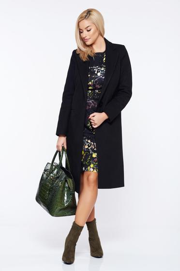 Palton LaDonna negru casual drept cu buzunare
