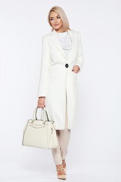 Palton LaDonna alb casual drept cu buzunare