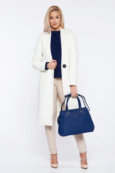Palton LaDonna alb basic din lana drept cu buzunare