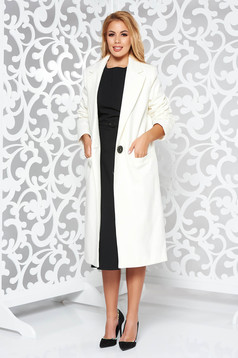 Palton LaDonna alb basic cu un croi drept din lana captusit pe interior cu buzunare