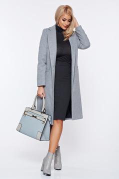 Palton LaDonna gri basic din lana drept cu buzunare