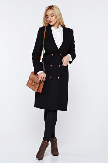 Palton LaDonna negru casual din lana cu buzunare captusit pe interior