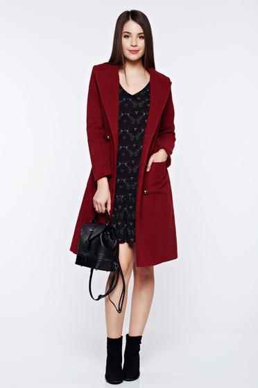 Palton LaDonna visiniu casual din lana cu buzunare captusit pe interior