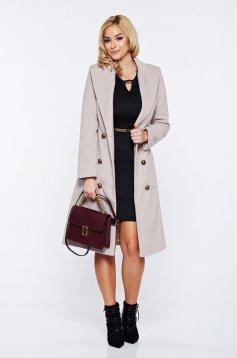Palton LaDonna crem casual din lana cu buzunare captusit pe interior