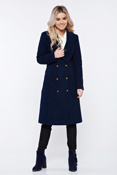 Palton LaDonna albastru-inchis casual din lana cu buzunare captusit pe interior